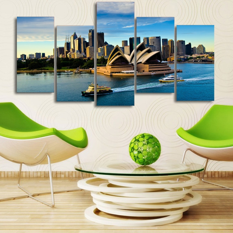 Modular-Wall-Art-Poster-Frame-Room-Home-Decor-Canvas-Pictures-5-Pieces-Sydney-Opera-House-Building