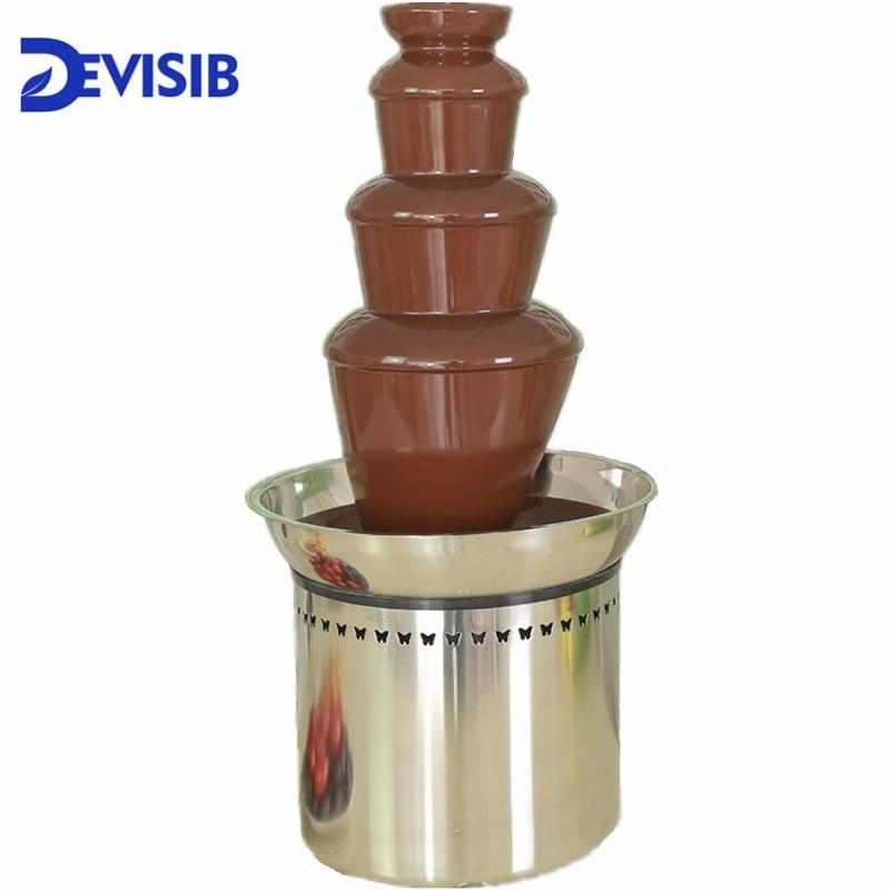 DEVISIB 4 Fila Commerciale Fontana di Cioccolato Fonduta con Acciaio inossidabile 304 Materiale Di Nozze Di Natale Rifornimenti Del Partito Evento