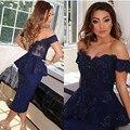 Moda Royal Blue Boat Neck Vestidos Dama de honra 2016 Nova Fora do Ombro Appliqued Frisado Bainha Chá de Comprimento vestido de festa