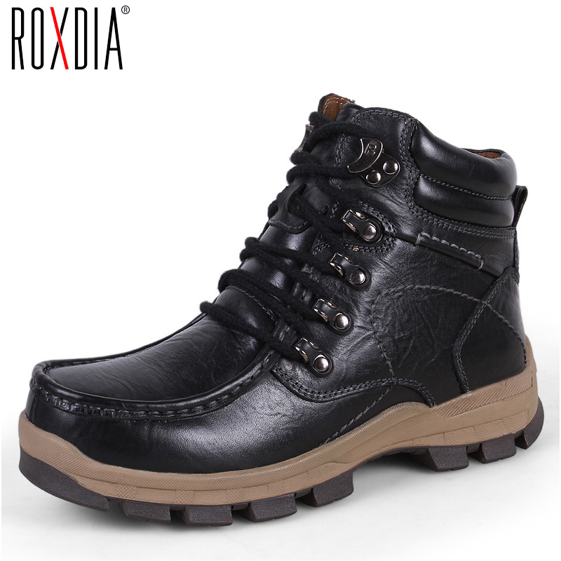 ROXDIA genuine leather men motorcycle boots snow winter warm safety male cowboy waterproof ankle shoes plus size 39-47 RXM050 roxdia new fashion genuine leather winter men ankle boots man warm snow boot fur work lace up shoes plus size 39 44 rxm474