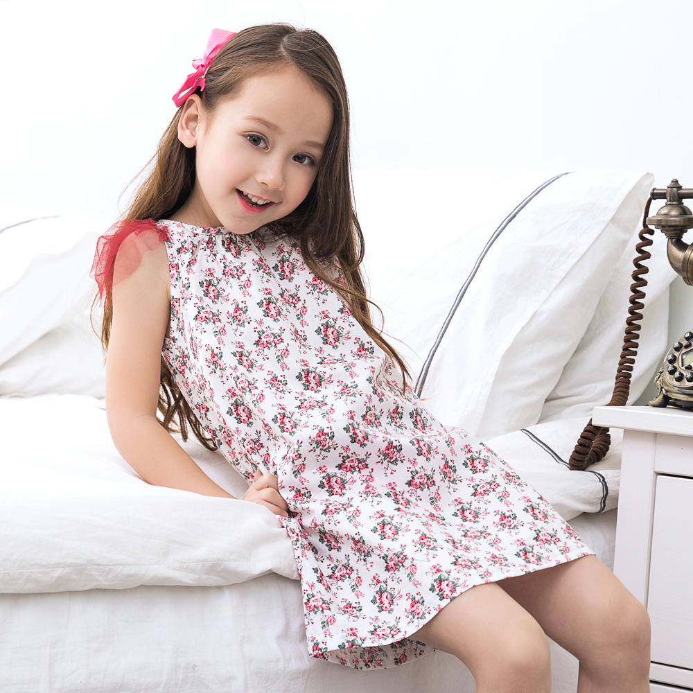 2017 New Girl Sweet Dress Baby Girl Floral Printing Dress Korean Style Children 39 S Summer Fashion