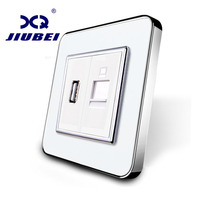 Jiubei Manufacture Golden Crystal Glass Panel 2 Gangs Wall Computer And USB Socket Without Plug Adapter