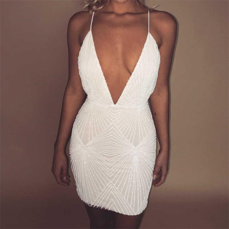 ... Ohvera Halter Sequin Party Dresses Women Sexy 2018 Backless Bodycon  Dress Elegant Mesh Mini Summer Dress ... a9a155a92811