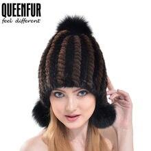 QUEENFUR 2017 Protetor Auricular Quente Bomber Chapéus Para Mulheres  Inverno Quente Cap Verdadeira Pele De Vison a3a18d0206c