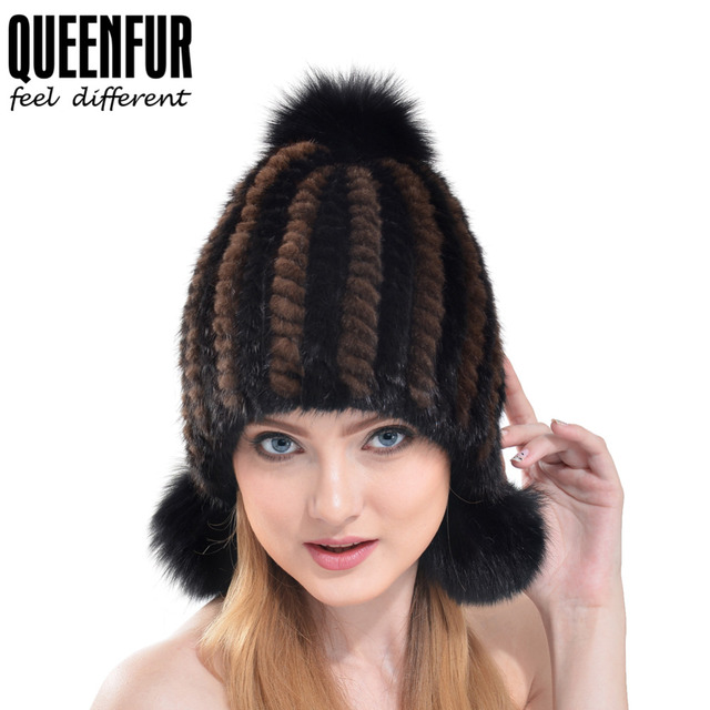 QUEENFUR 2016 Hot Bomber Hats For Women Winter Warm Ear Protector Cap Real Knitted Mink Fur With Fox Fur Pom Poms Female Beanie