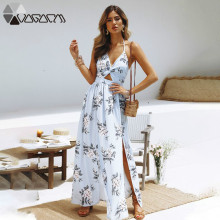 цена на 2019 Summer Dress Women Sexy Backless Bow V Neck Beach Floral Print Boho Long Dress Halter Sleeveless Split Maxi Dresses Vestido
