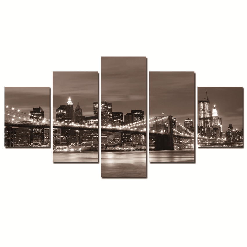 Canvas Printing Cuadros Decoracion Wall Pictures For Living Room City In Day And Night Frameless 5 Panels Art Painting Gift