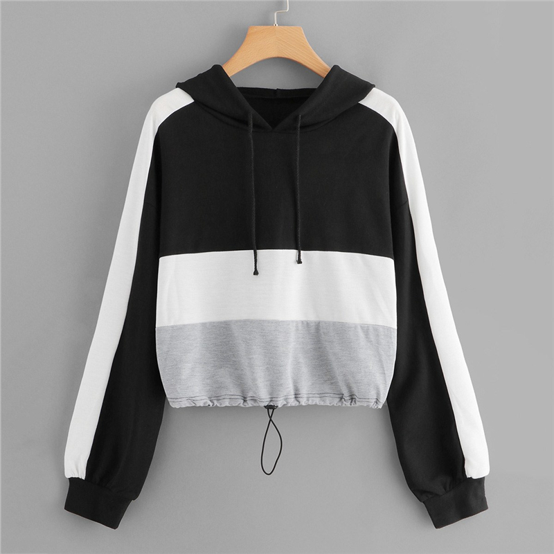 Color Block Sporty Hoodie For Women