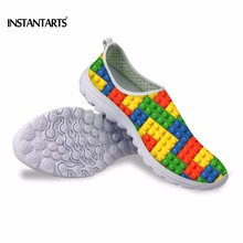 INSTANTARTS Funny Tetris Printing Summer Men Casual Shoes Breathable Mesh Man Flat Slip-on Sneakers Stylish Walking Lazy Shoes