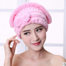 Colorful Shower Cap Wrapped Towels Microfiber Bathroom Hats Solid Superfine Quickly Dry Hair Hat