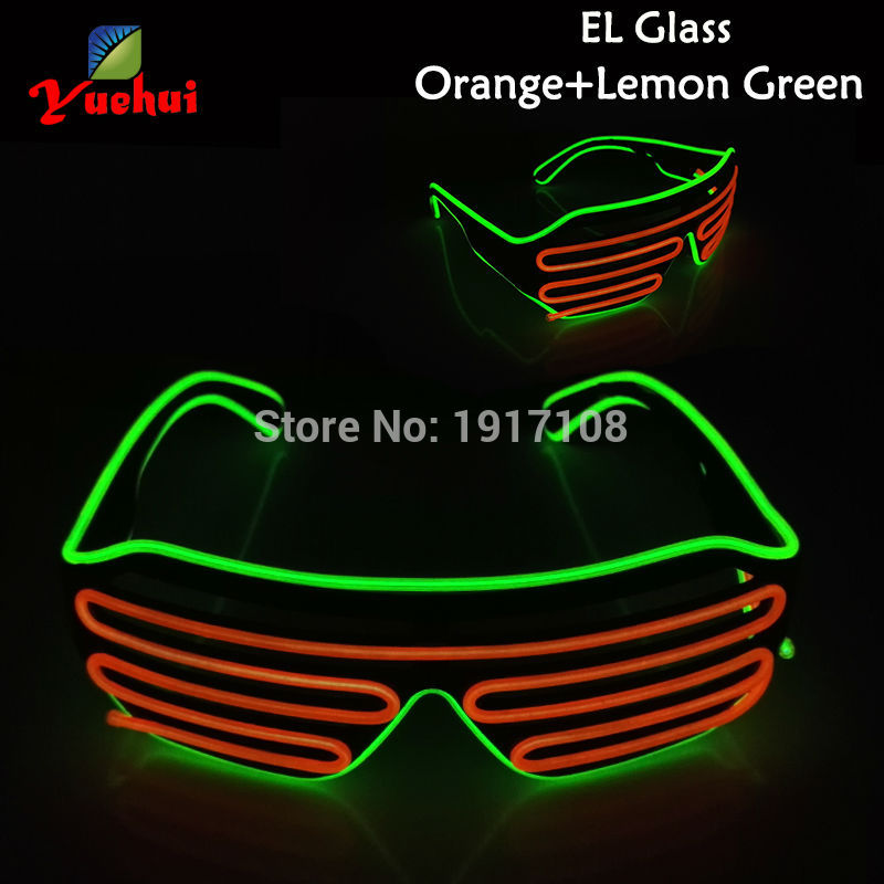 New arrival 17 Style Select Twin Color LED Shutter glasses Light up Wedding decor EL wire Glasses Dance show Evening Party Gift