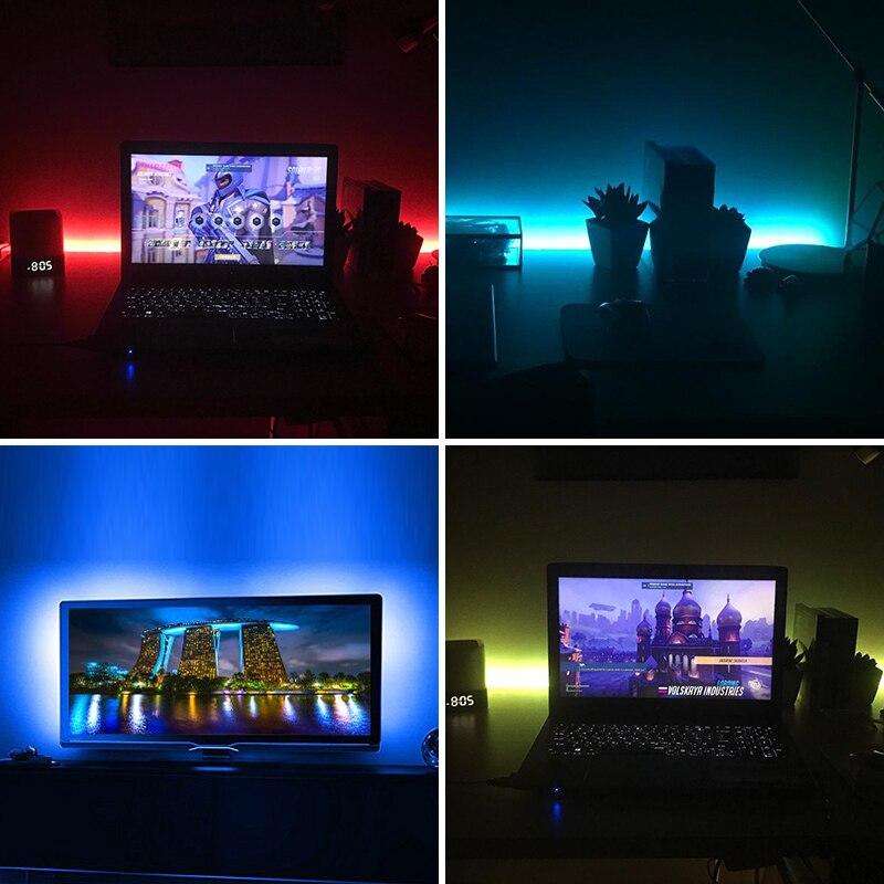 DC 5V LED Strip Light Battery Powered 1M 2M SMD 5050 Waterproof Warm White / Cool White / RGB Flexible LED Strip String Lighting