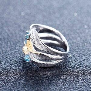 Image 3 - GEMS bale 925 ayar gümüş el yapımı kayış büküm yüzük 0.47Ct doğal İsviçre mavi Topaz taşlar yüzük kadınlar için Bijoux