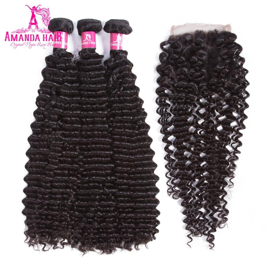 Amanda Kinky Curly Peruvian Hair 3 Bundles with Closure 4x4 Free Part Human Remy Hair Bundles with Lace Closure 130% Salon Hair