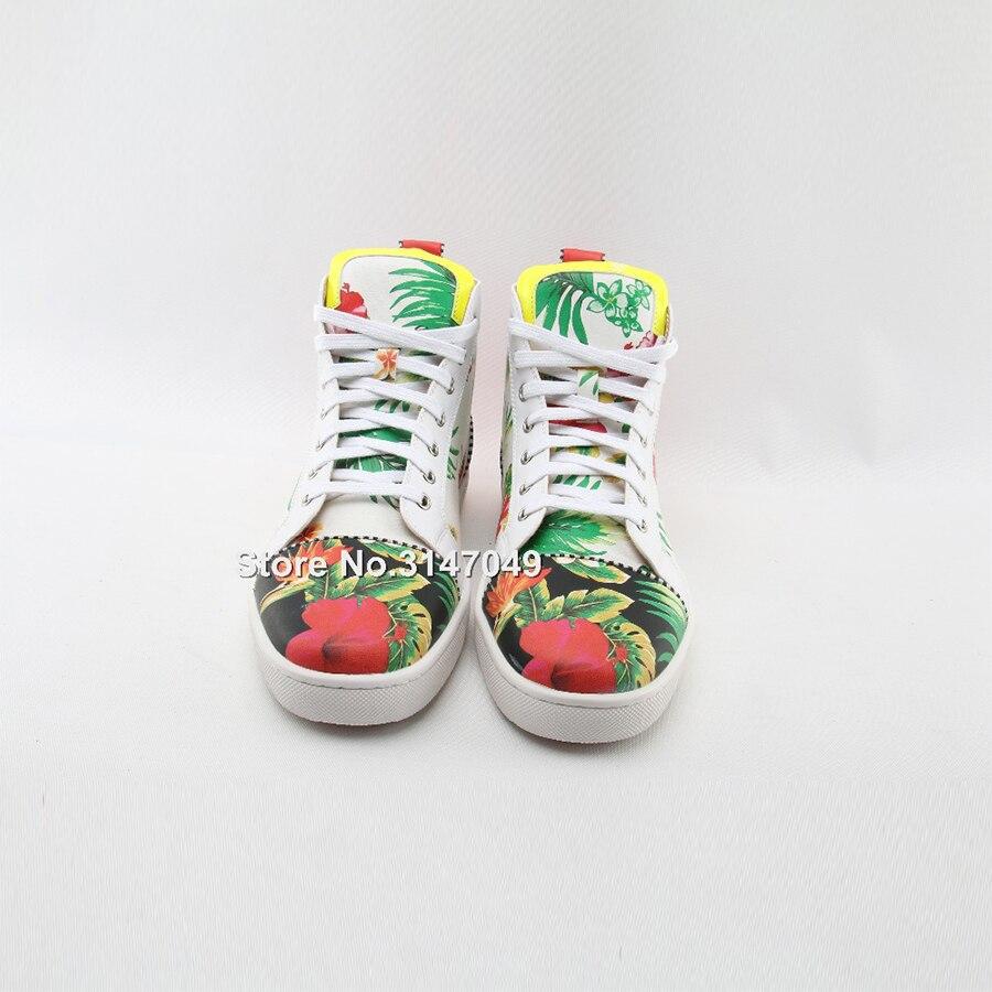 OKHOTCN/белая мужская повседневная обувь на шнуровке высокая обувь с цветочным принтом модные уличные мужские кроссовки с круглым носком сез... - 2