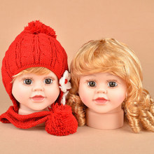 Free Shipping!! A Pair Newly Lovely Realistic Plastic Baby Child Head Mannequin Head With Wig For Hat Cap Display(China)
