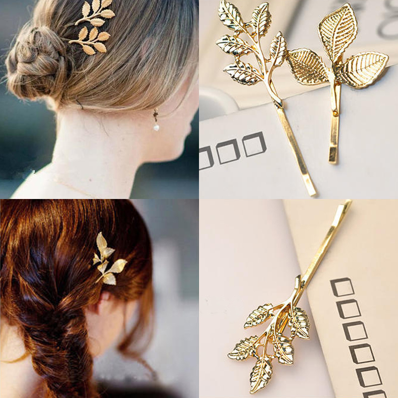 5 PCS/LOT New Clover Leaves Gold Pated Hair Clip Barrettes Hair Accessories Fashion Girls Women Fashion Cute Headwear Hair Clips
