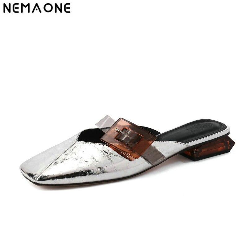 NEMAONE 2019 nowy damskie buty z prawdziwej skóry niskie obcasy kwadratowe Toe kapcie kobieta lato rzym Casual Party podstawowe buty w Kapcie od Buty na  Grupa 1