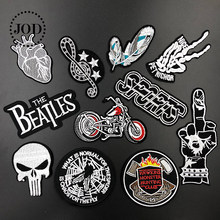 JOD Embroidered skull Iron on Patches for Clothing Biker Jeans DIY Badge Fabric Stickers Applique Embroidery Patch for Clothes(China)
