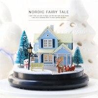 Cute Families House Diy Hut Nordic Fairy Tale Transparent Cover Villa Model Music Box Creative Kid Gift Juguetes Brinquedos
