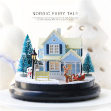 Sylvanian Families House Diy Hut Nordic Fairy Tale Transparent Cover Villa Model Music Box Creative Kid Gift Juguetes Brinquedos