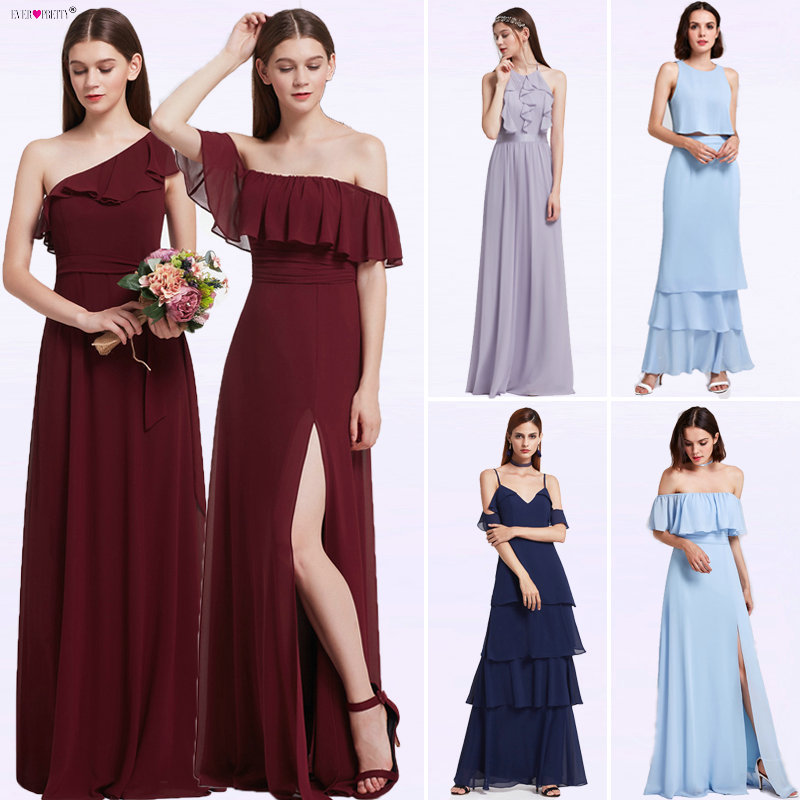 Bridesmaid Dresses Ever Pretty 07211 Sexy One Shoulder A line Ruffles Floor Length Belt Gowns Beach Wedding Guest Dress