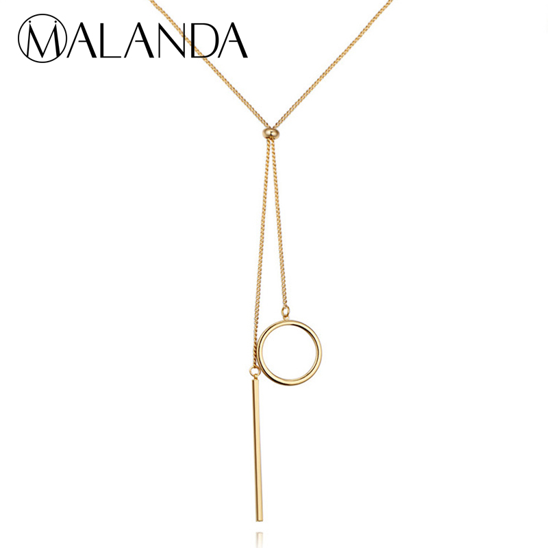 77e22fad4c76 MALANDA Marca Círculo De Metal De Moda Largo Suéter Collares Para Las  Mujeres Glod Color Maxi Collares Joyería de La Cadena Accesorios G