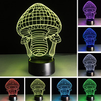 Christmas Creative Fashion 3D Mushroom Lamp 7 Color Change LED Night Light Child Kids Baby Table