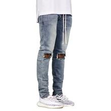 New 2019 Hip Hop Hole Jeans Sweatpants Skinny Motorcycle Denim Pants Drawstring Designer Black Jeans Mens Slim Men Trousers new 2017 fashion jeans men patchwork pockets black mens skinny jeans male hip hop boys street denim pants slim casual trousers