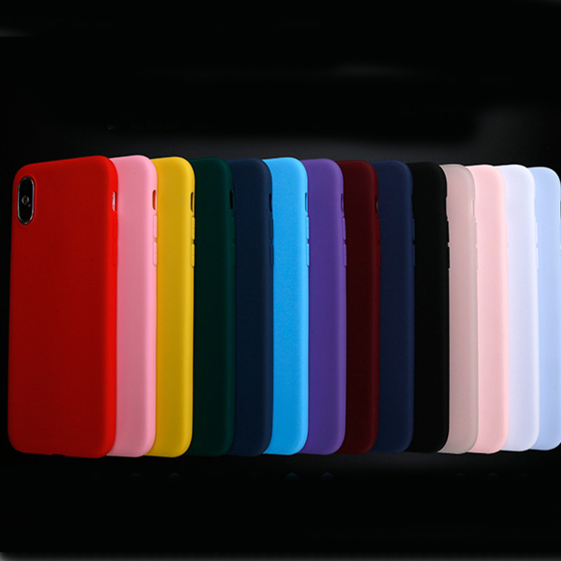 Matte Soft TPU Cases Candy Color Phone Case For iPhone 7 Plus 6 6s 8 X 5 5s SE XR XS MAX Simple Solid Color Ultrathin Back Cover