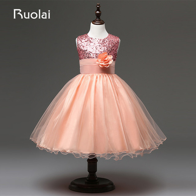 Beautiful Real Coral Top Sequined Flower Girls Dresses For Weddings 2017 Short First  Communion Dresses For Kids