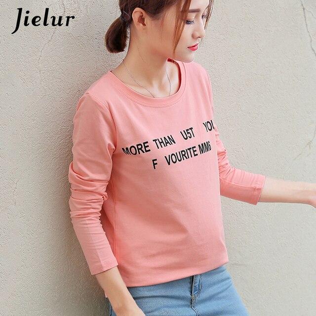 3908077050c9c4 Jielur Autumn Letters Printed T shirt Women Korean Pop Leisure Full Sleeve  Female T-shirt