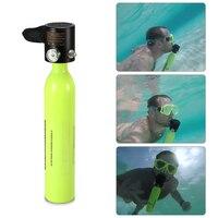 Newest 0.5L Scuba Oxygen Cylinder Snorkel Air Tank Scuba Regulator Diving Respirator Gauge Snorkeling Breathing Diving Equipment