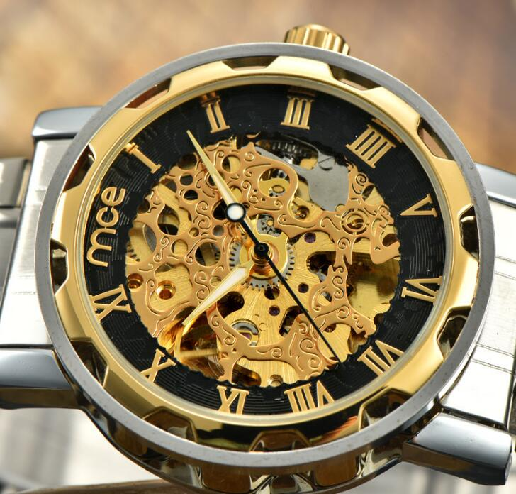 Men Automatic Mechanical Watches Top Brand Luxury Stainless Steel Watch Skeleton Transparent Sport male WristWatch relojes masc