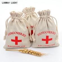 10x15cm Cotton Muslin Hangover Recovery Kit Bag Bachelorette Party Supplies Emergancy Survival Wedding Favor Holder Bags