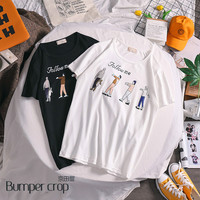 BUMERCROP Letter Women tshirt Casual Funny t shirt For Lady Girl Top Tee Hipster follow me korean clothes white top