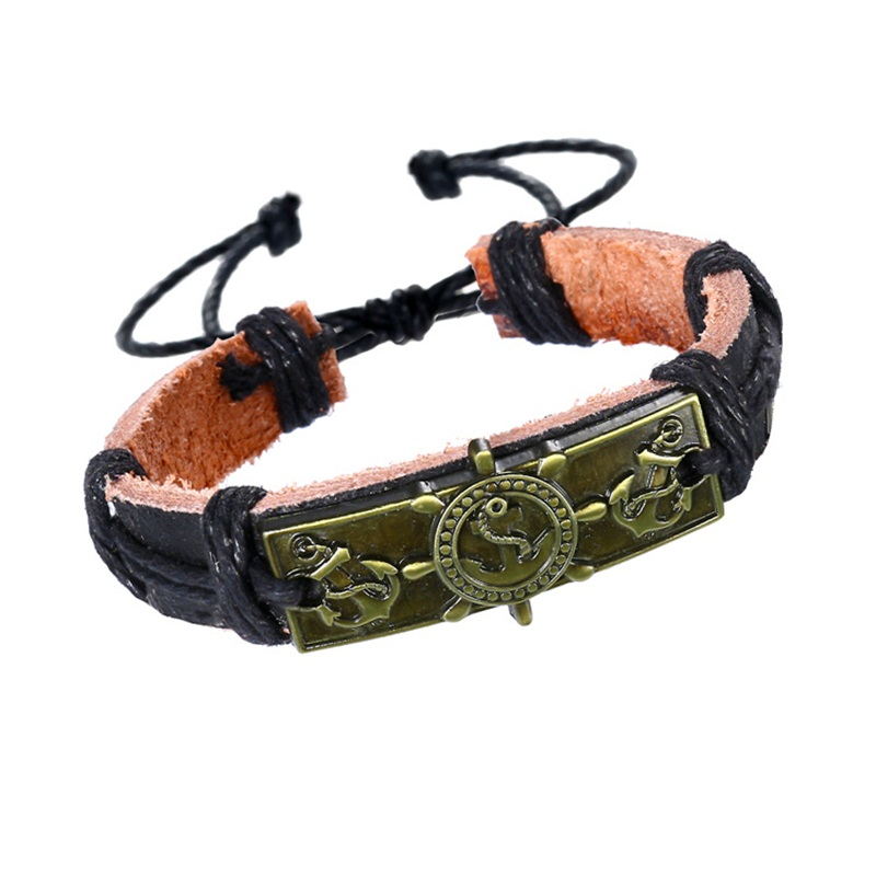 Black Leather Bracelet with Handmade Carving Rudder Anchor Charm Rope Bangle Nautical Wristband for Men Women Jewelry Braslet