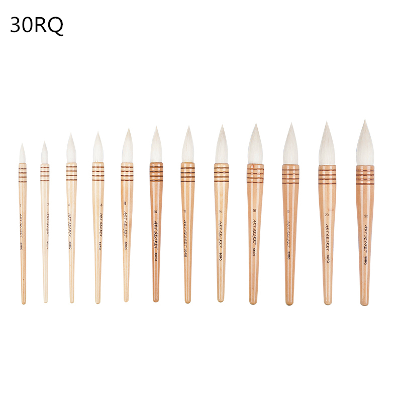 30RQ high quality goat hair wooden handle paint brushes artistic watercolor art painting brush pen for drawing