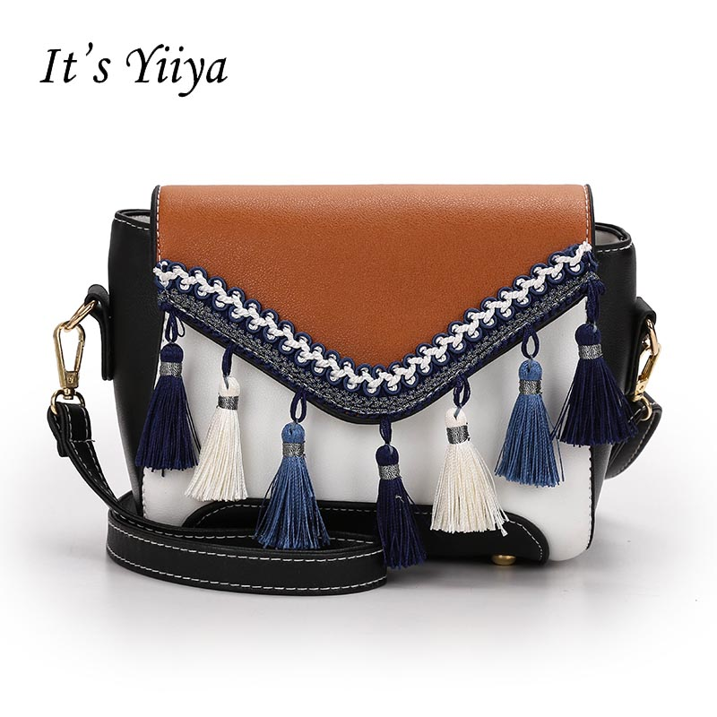 Its YiiYa Cool Women Hand Bag Casual Fashion Tassel Panelled For Party Hasp Girls Lady Chains Messenger Bags Pocket Bags ZB002