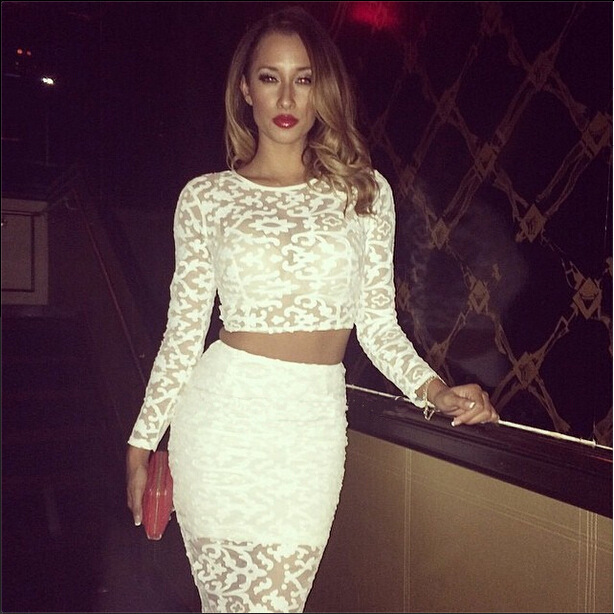 White Lace Bodycon Dress Celeb Crop Top Two Piece Set Sexy