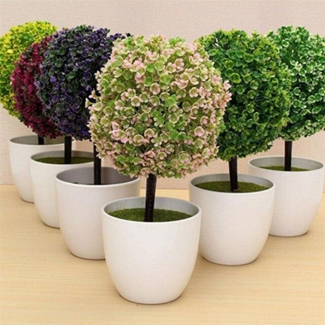 Beau Wedding Decorative Flowers Wreath Artificial Flower Green Plants Potted  Bonsai Fake Flower Ball Trees Home Office