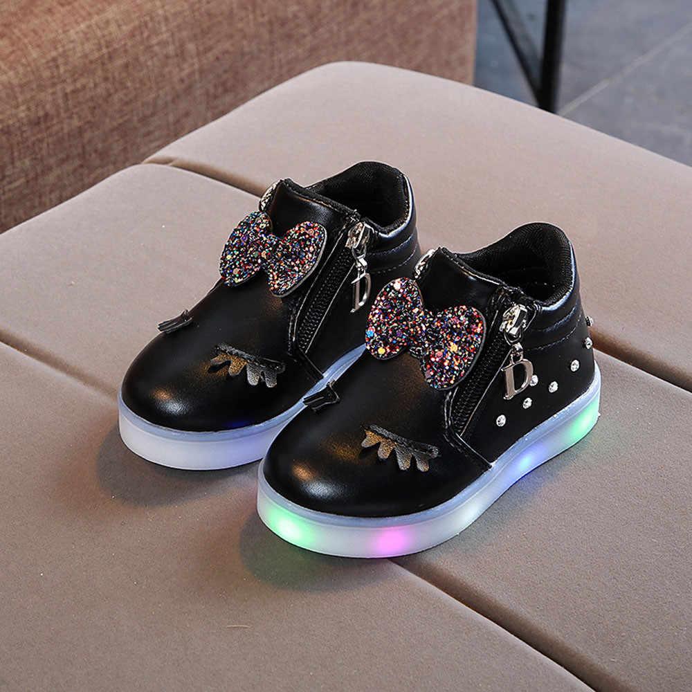 Дети младенческой кристалл для Девушки Бант светодиодный светящиеся ботинки Спортивная обувь кроссовки