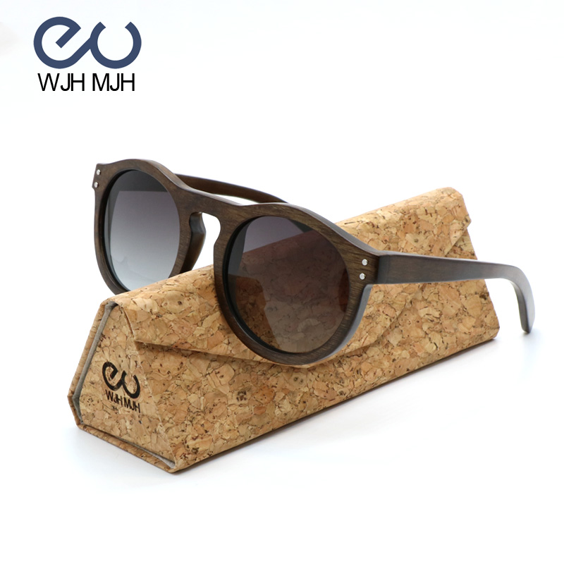 Vintage Round Wood Polarized Sun glasses For Gradient Lenses Small Circle Wooden Women Classic Driving Anti-glare Layer Eyewear