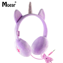 hot deal buy children girls kids unicorn headphones for tablet mp3 players pc