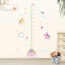 Colorful Unicorn Castle Height Measure Wall Sticker