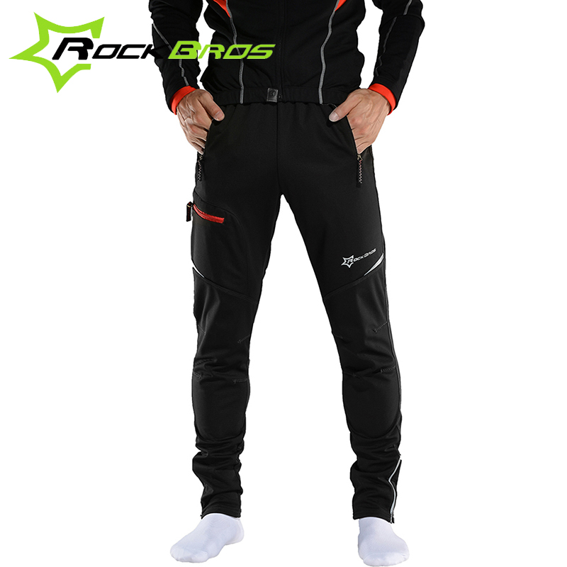 ROCKBROS MTB Men Thermal Fleece Pants Windproof  Winter Running Sportswear Reflective Bicycle  Clothing Cycling Trousers hot new 2017 winter cycling pants warm up fleece thermal bicycle mtb mountain bike pants waterproof windproof sports