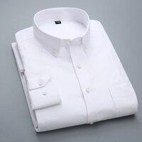 Hoge kwaliteit 2017 Nieuwe shirt heren Lange Mouw 100% Katoen Casual Wit Slim Fit camisa business Classic Heren Dress Formele Shirts