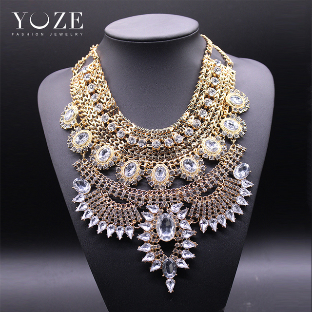 New 2016 Fashion Big necklace women heavy metal chain crystal statement necklace costume chunky choker bib statement Necklace