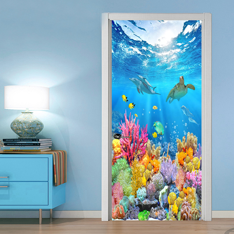 3D Cartoon Underwater World Door Sticker Kids Bedroom PVC Self-Adhesive Waterproof Home Design Wall Decals Vinyl Wallpaper Decor