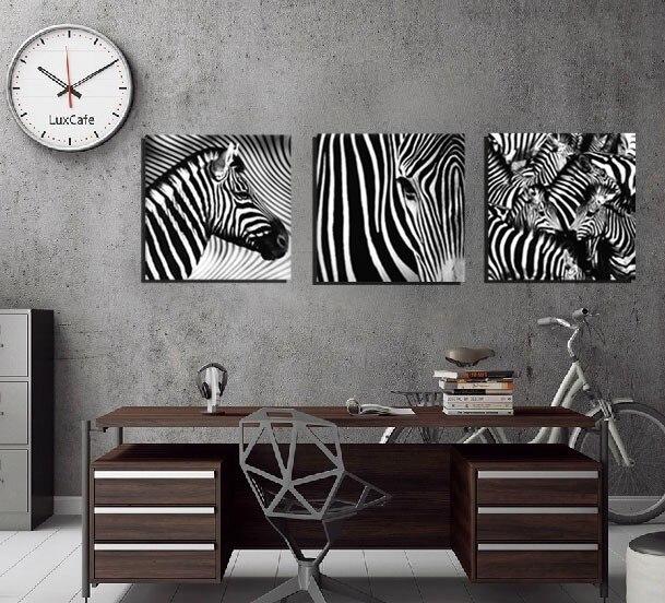 3 Panel Wall Art Decorative Paintings Black And White Zebra Decor